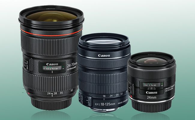 Canon EF 24-70mm ƒ/2.8L II USM; Canon EF-S 18-135mm ƒ/3.5-5.6 IS; Canon EF 24mm ƒ/2.8 IS USM